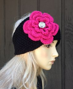 Knit Black Head Wrap Headband Earwarmer with Bright Pink Crochet Flower and Sparkle Button on Etsy, $14.00