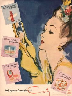 1943 Coty Make up print ad Cosmetics rouge by catchingcanaries, $9.00