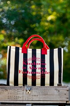 Black/Sand Stripe Tote-Select one of the available sayings or create a custom saying