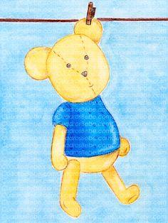 Cuadro bebe oso o osito de peluche con camiseta azul, pintado a mano con pintura y acuarela, para decorar la habitación o cuarto de los más pequeños de la casa