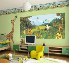 Animal theme Kids Room Designs- love the big giraffe!