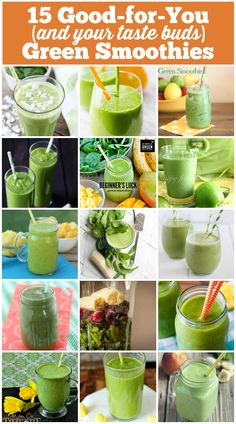 15 Good-for-you (and your taste buds) Green Smoothies via @emihill #smoothies #greensmoothies