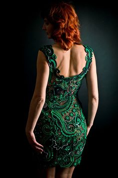 Free-form crochet dress. How gorgeous is this dress with her red hair?
