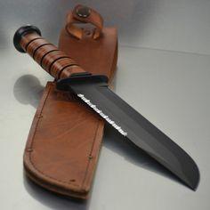 Military Knives, Combat Knives, Ka Bar Knives, Knives And Swords, Marine Outfit, Knife Sheath, Guns And Ammo, Usmc, Leather Handle