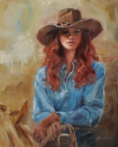 """Redheaded Cowgirl"" Original oil painting of cowgirl on a horse.  20"" x 16"" (framed). Jackson Hole art gallery.  #cowgirl"