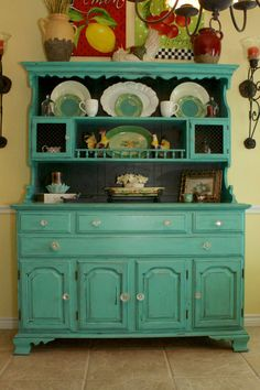 Feature+Friday+-+My+Beautiful+Turquoise+Hutch+-+Patina+and+Paint
