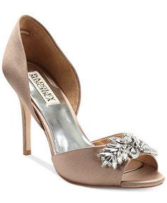 Badgley Mischka Nikki Mid Heel Evening Pumps- prefer white satin
