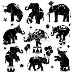 circus elephants Royalty Free Stock Vector Art Illustration
