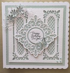TT Lattice window striplet x two with three flower die and centre square Birthday Cards For Women, Handmade Birthday Cards, Card Making Inspiration, Making Ideas, Spellbinders Cards, Window Cards, Fancy Fold Cards, Square Card, Marianne Design
