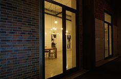 Outside night view of our showroom in Karlsruhe.