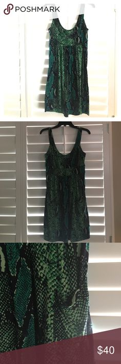"""DVF """"Ferdon"""" dress Fun dress in green/blue python print, great for a night out on the town! Has pockets at the front which blend in seamlessly with the print. Scoopneck front and back Diane von Furstenberg Dresses Mini"""