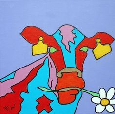 Pop-Art Cow 'Magritte' acryl op canvas (linnen) 25/25cm Meer originele schilderijen op www.art-4-u.eu