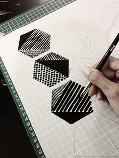 #brushes #pattern #polygons #textures #geometric #handmade #patterns #black #ink #turleza #paper #process #handmade #pattern #turleza #iriscalderon #patterns