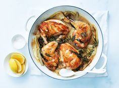 Tarragon and Lemon Roast Chicken- substitute fennel with dill