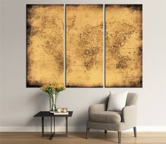 Large world map wall art with countries names canvas world map large ancient map of the world canvas panels set ancient world map print gumiabroncs Image collections