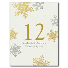 Silver Gold Snowflake Winter Wedding Table Card Postcard