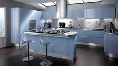 Most Favorite High Gloss Kitchen In Bold Color Ideas: The bright blue Kitchen design Contemporary Kitchen Cabinets, Blue Kitchen Cabinets, Refacing Kitchen Cabinets, Red Kitchen, Kitchen Cabinet Design, Open Plan Kitchen, Interior Design Kitchen, Kitchen Decor, Cabinet Refacing
