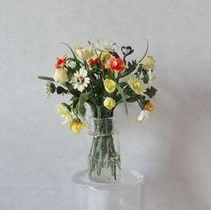 Dollhouse Miniature Artisan Handmade Flowers in Vase Jar Kiki Bean Minis IGMA #KikiBeanMinis on ebay now $.9.99