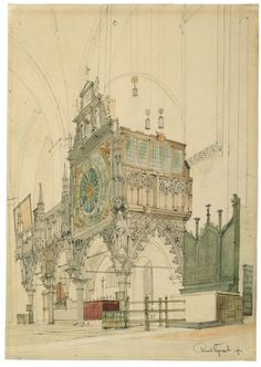 blastedheath:  Paul Graeb (German, 1842-1892), Der Lettner im Dom zu Lübeck [The rood screen in Lübeck cathedral], 1865. Watercolour and pen...