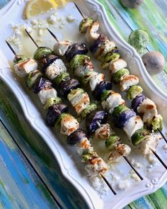 Grilled Chicken Kabob Recipe with Brussels Sprouts Purple Potatoes Grilled Chicken Kabobs, Chicken Kabob Recipes, Herb Recipes, Chicken Tostadas, Fried Corn Recipes, Potato Recipes, Lemon Potatoes, Purple Potatoes, Mashed Potatoes