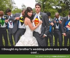 I love how the groomsmen look like they have no idea which super hero they're meant to be!