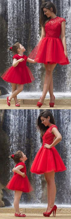 New Short/Mini Red Homecoming Dresses,Tulle Lace Mother and Daughter Dresses,Ruffles Scoop Neck Prom Dresses,Sexy Cocktail Party Gowns Online