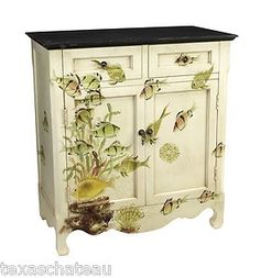 love this nautical dresser/cabinet with fish