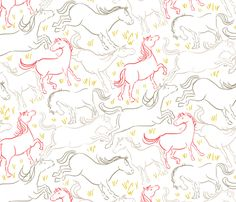 for girls room.  Romping Horses 7 Large Version fabric by vinpauld on Spoonflower - custom fabric