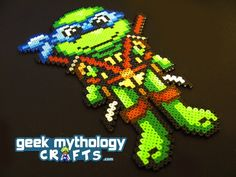 Leonardo Teenage Mutant Ninja Turtles Perler Bead Sprite Decoration. $13.00, via Etsy.