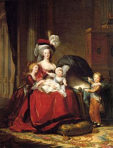 Marie Antoinette Queen of France with her three eldest children, Marie-Thérèse, Louis-Charles and Louis-Joseph. Princess Sophie Hélène Béatrix of France, originally in the cradle, was painted out after her death. By Marie Louise Élisabeth Vigée-Lebrun (wikipedia)