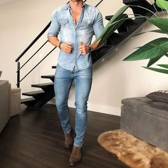 casual shirt for men Jean Shirt Outfits, Jean Shirt Men, Denim Outfit, Denim Shirt Style, Denim Boots, Chelsea Boots Outfit, Casual Outfits, Men Casual, Mode Jeans