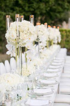 Tall Centerpieces - Fleurs de France. White tall hydrangea orchid wedding reception flowers, crystal candelabra. Napa_Sonoma_Wedding_Florist. www.napaweddingflowers.com