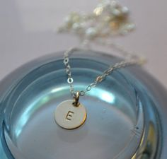 Sterling Silver Initial Disc Charm Necklace by SeaSaltShop on Etsy, $18.00
