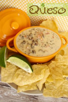 Easy 4 Ingredient Queso Dip - great recipe to make for Super Bowl party appetizer KristenDuke.com