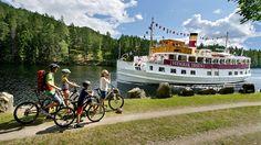 Kombinieren Sie eine Radtour entlang des Telemarkkanals mit einer Fahrt auf einem traditionellen Kanalboot