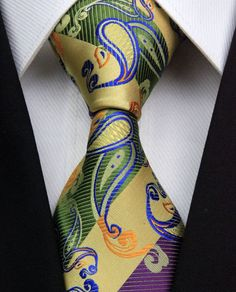AS0394 Curry Royal Paisley Classic Elegant Woven 100%Silk Men's Tie Necktie