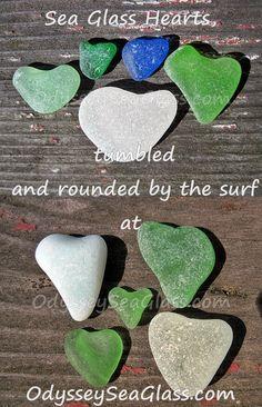 Sea Glass Hearts - more, click photo...