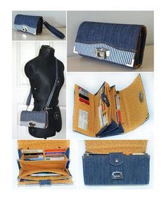 You're going to love The Penny Inn Wallet by designer ChrisW Designs. Optional wrist strap and cross body strap included. The Penny Inn by ChrisW Designs von ChrisWDesignsThe occaisional frustrations of sewing (+wine and a cat) - Sew Modern BagsWhen Wallet Sewing Pattern, Pdf Sewing Patterns, Sewing Tutorials, Sewing Projects, Sew Wallet, Denim Bag, Purse Patterns, Bag Making, Purses And Bags