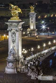 """""""Pont Alexandre III de nuit depuis le Grand-Palais"""" ~ photo by Pierre Henry Muller"""
