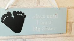 Countdown plaques, gift for big sister, gift for big brother  These beautiful plaques make the perfect way to countdown to any occasion including:  -New baby (Can be personalised to be days until baby (surname) arrives - Mr & Mrs, Mr & Mr, Mrs & Mrs - Flower girl or bridesmaid plaque -Holiday -Promoted to big bro/big sis  The possibilities are endless Each plaque is made from high quality acylic measuring Acrylic plaques can be supplied in over 46 colours. Please let me know when ordering if…