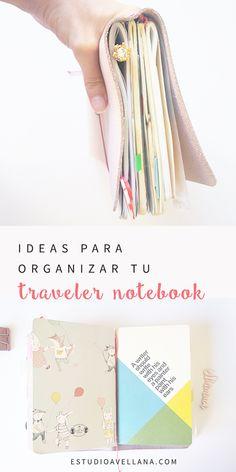 Ideas para organizar tu traveler notebook :) Travelers Notebook, Ideas Para Organizar, Diy Notebook, Ideas Geniales, Happy Planner, Journaling, Cactus, Bullet Journal, Study