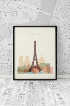 Paris printable, Printable Poster Wall Art,Travel City poster,wall decor, typography art poster,Paris digital poster print,INSTANT DOWNLOAD.