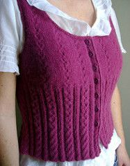 """Wicked Eyelet Rib Vest"" by Joelle Meier Rioux - free 3.75mm bottom-up"