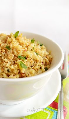 Riced Cauliflower - healthy, easy and very customizable substitution for rice. Low-carb, low-fat, gluten free. Only 9 carb grams per serving! - by diettaste.com