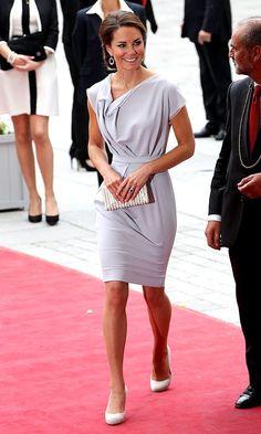 dove-gray Roksandra Ilincic dress, Kiki Mcdonough baubles, LK Bennett heels, and a clean chignon.