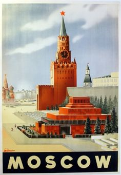 Moscow - original 1930s vintage Intourist travel poster listed on AntikBar.co.uk