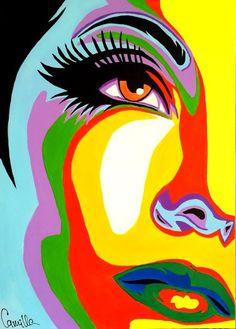 Camilla Mamedova - Pop art girl - Sunshine on my face Abstract painting on canvas painted . Pop Art Drawing, Art Drawings, Drawing Faces, Pop Art Face, Abstract Faces, Abstract Oil, Abstract Paintings, Oil Paintings, Painting Art