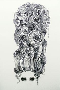 Fantasting Drawing Hairstyles For Characters Ideas. Amazing Drawing Hairstyles For Characters Ideas. Psychedelic Art, Illustrations, Illustration Art, Zantangle Art, Doodles, Crazy Hair, Pics Art, Art Design, Art Plastique