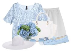 """""""What a Beautiful Day!"""" by abigaillieb ❤ liked on Polyvore featuring Tara Jarmon, H&M, New Growth Designs, Sif Jakobs Jewellery, Oliver Peoples, Tod's and August Hat"""