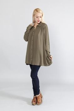 Cute, Sexy Pin-Tuck Shirt Dress Rayon crepe fabric Collar with front button closure  Long sleeves with roll-up tab Shoulder pin-tuck detail Side pockets